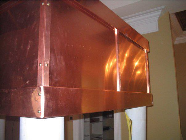 Close up of custom copper vent hood