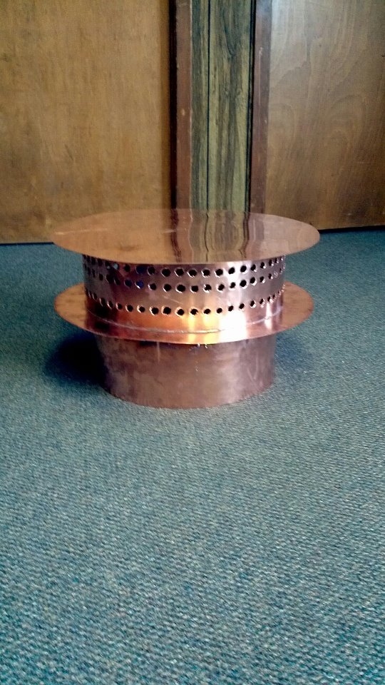 Custom made vent cap for chimney