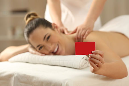 Happy woman receiving a massage showing