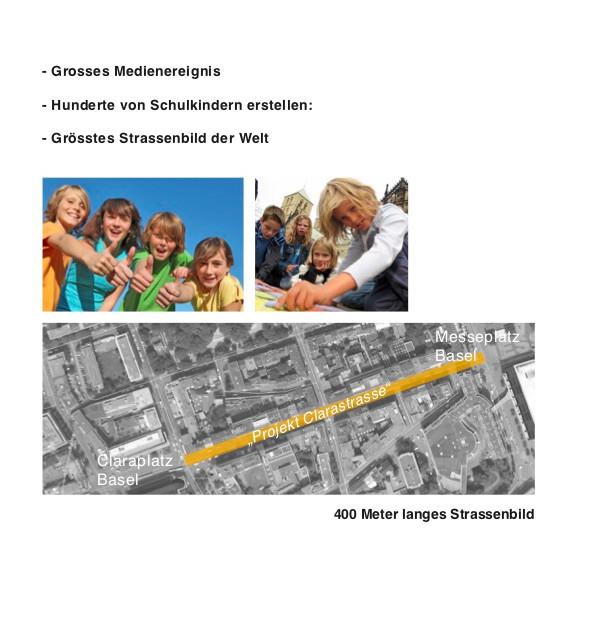 Grösstes Strassengemälde mit Schulklassen, Clarastrasse, Basel