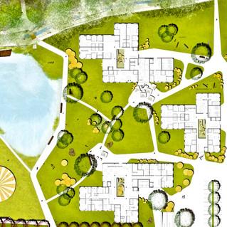 Wonüberbauung und Park