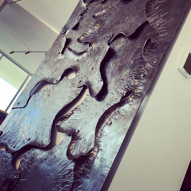 Alon Fainstein - forged and textured mild steel sliding door - detail