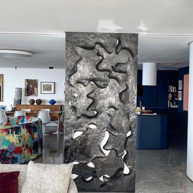 Alon Fainstein - Forged and textured mild steel sliding door