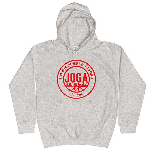 JOGA Grey/Red Kids Hoodie