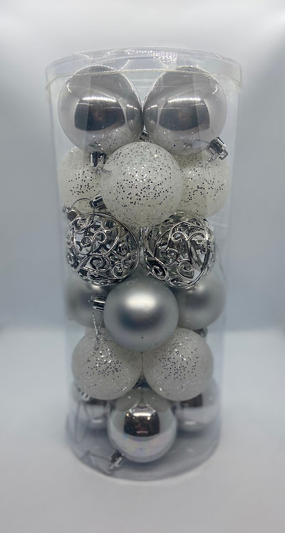 SCARLET BAUBLE PACK Silver (24pac)