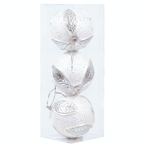 SILVER LEAF BAUBLE PACK (3pac)