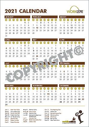 WorkLife Cafe Calendar 1 page