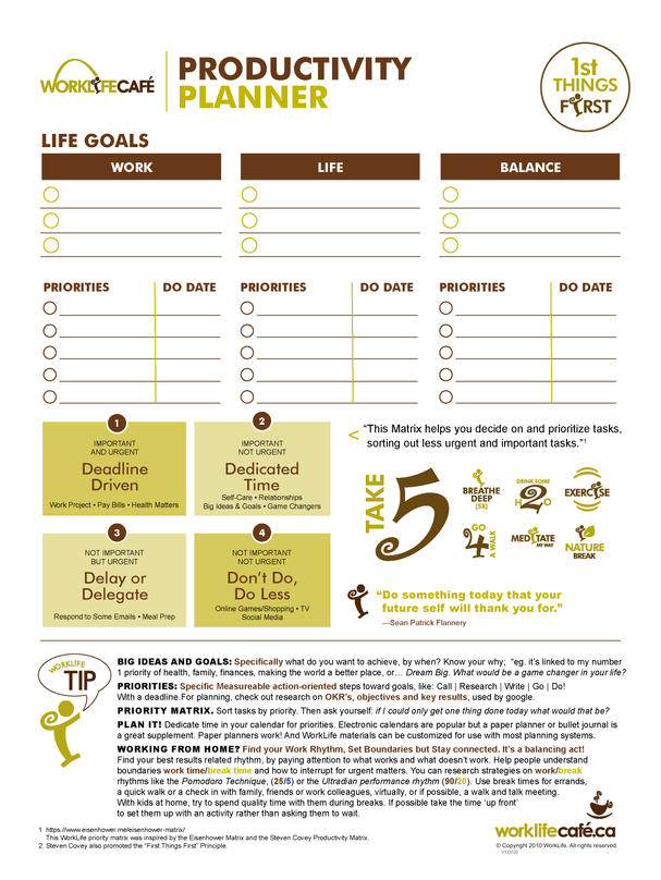 Work Life Cafe Productivity Planner