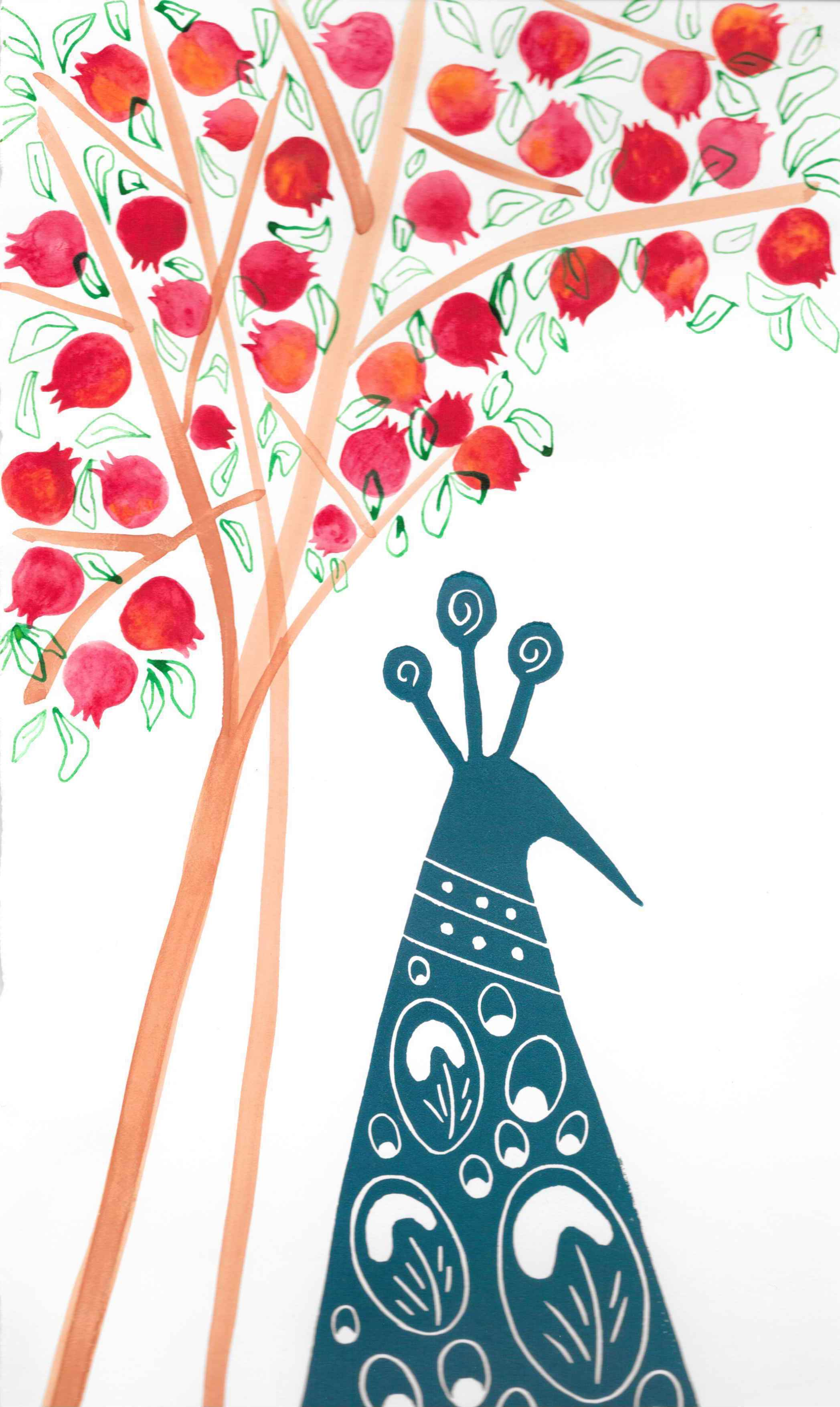 Pomegranates Peacock