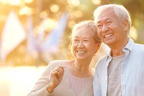 senior asian couple enjoying good time o