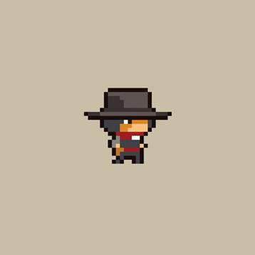 2D Pixel Hero Cowboy