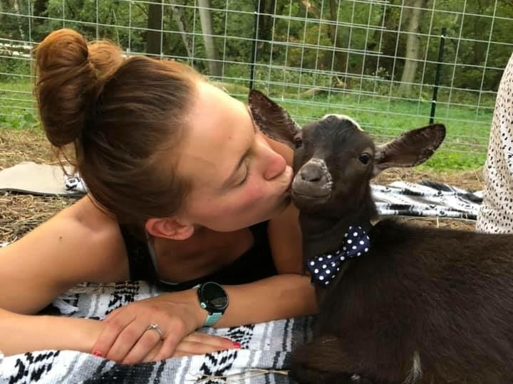 Our baby goats love cuddling with Goat Yogis during Goat Yoga classes.
