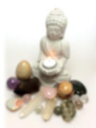 Buddha med krystaller