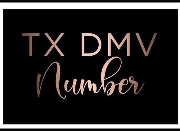 TX DMV Number
