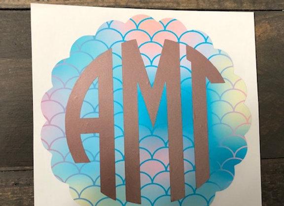 Mermaid Monogram Decal
