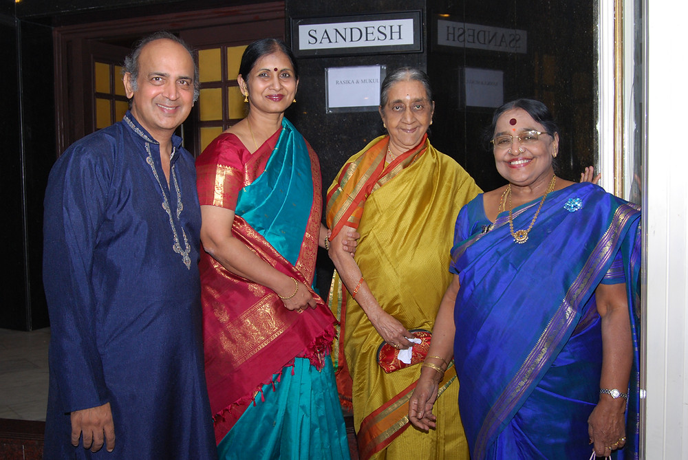 Photo of Kalanidhi Mami with my parents and Parimala Mami (another generous soul) at our Chennai reception; sadly, I missed the opportunity to take a photo with Mami at this event