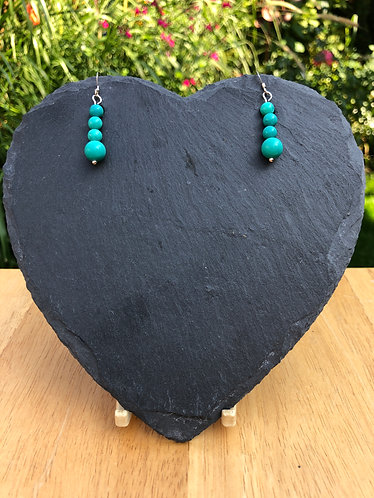 Turquoise earrings with sterling silver hooks