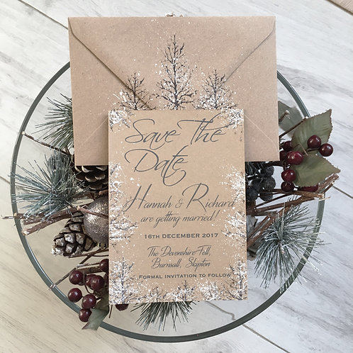 SAMPLE - Rustic Winter Wedding Save the Date Invitation