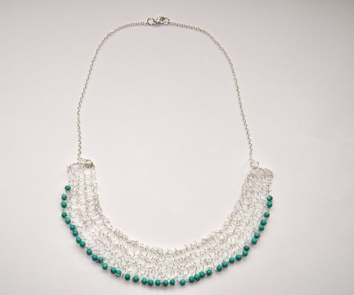 Knitted sterling silver necklace with turquoise