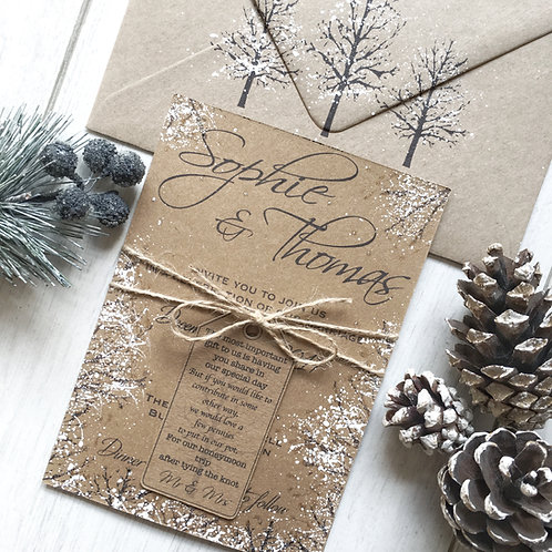 SAMPLE - Rustic Winter Wedding Invitation Suite