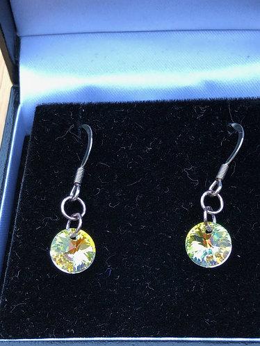 Yellow Swarovski sterling silver hook earrings
