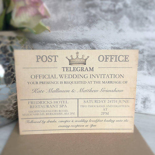 Sample Vintage Telegram Wedding Invitation Quaintlykate Designer Of Personalised Gifts Cards