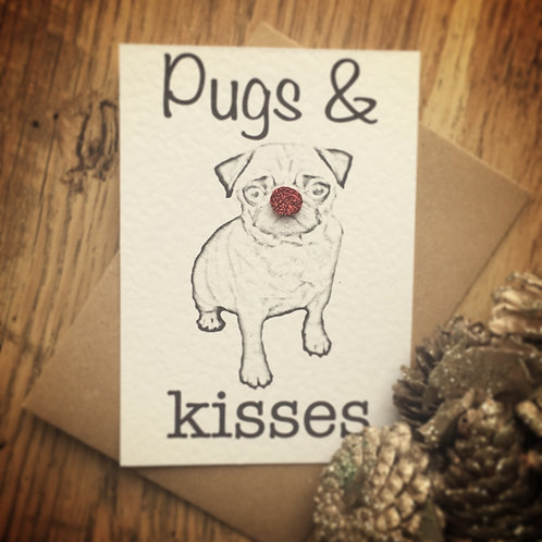 Pugs and Kisses Christmas Card