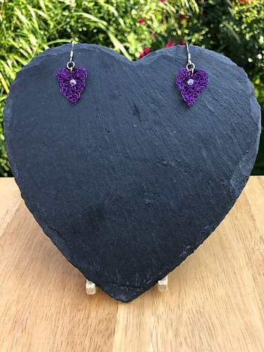 Crocheted purple wire earrings on sterling silver hooks