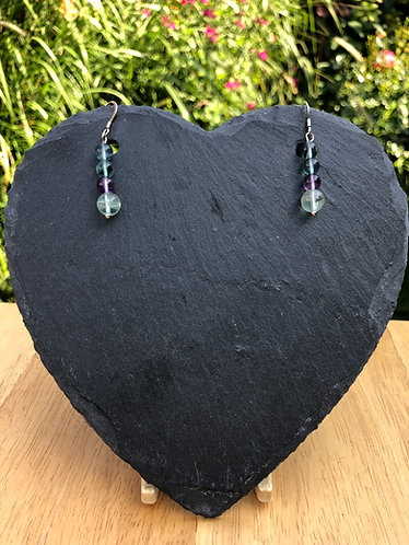 Fluorite earrings on sterling silver hooks