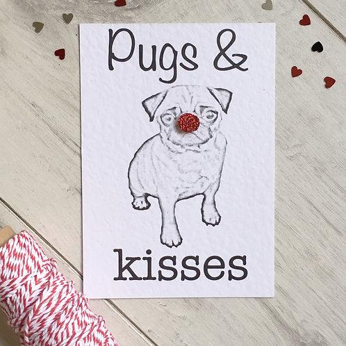 Pugs & Kisses Valentine's Card