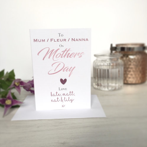 Personalised Mothers Day Card (Group Card)