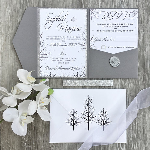 SAMPLE - Grey Rustic Winter Wedding Pocket fold Style Invitation Suite