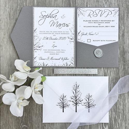 SAMPLE - Grey Rustic Winter Wedding Pocket fold Style Invitation Suite