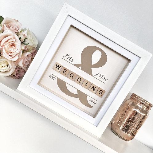 Personalised Wedding Frame - Scrabble Art