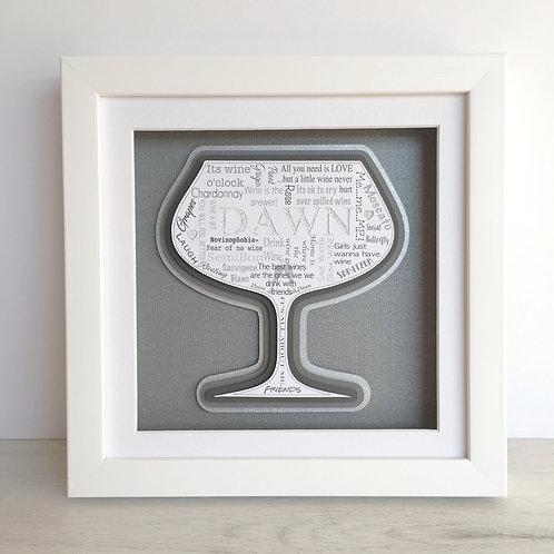 Wine Glass White Gift Frame