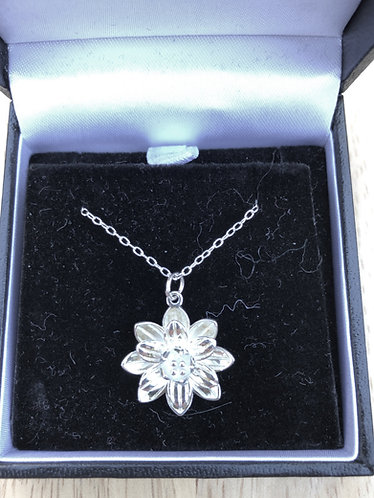 Lotus flower pendant with silver chain