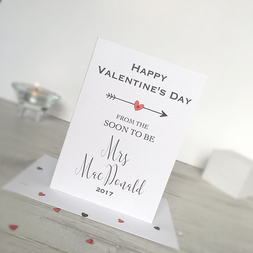 'Soon to be Mrs' Personalised Valentine's Day Card
