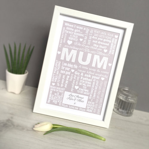 Personalised Mum-isms Quote Print