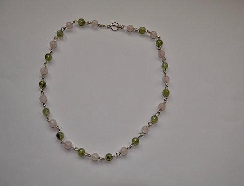 Necklace with Rose Quartz and Prehnite