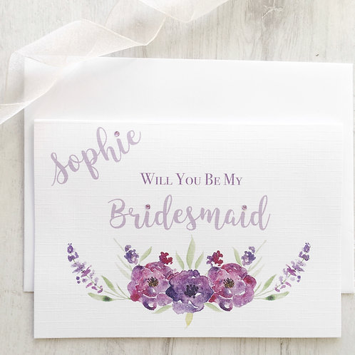 Personalised Will You Be My Bridesmaid Card -Lilac and Lavender