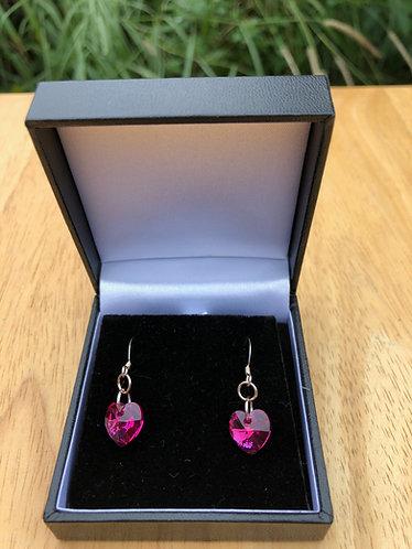 Swarovski heart shaped earrings with sterling silver hooks