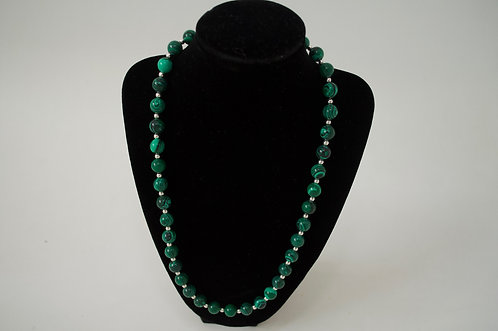 Malachite necklace and sterling silver beads