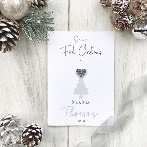 Personalised Our First Christmas Card as a Married Couple for their First Christ