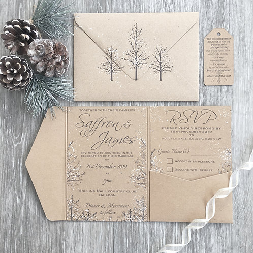 SAMPLE - Rustic Winter Wedding Pocket fold Style Invitation Suite