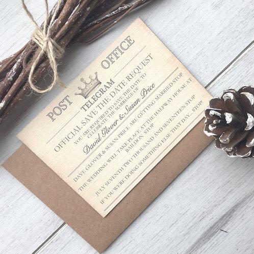 SAMPLE - Vintage Telegram Wedding Save the Date Invitation