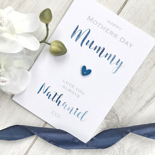 Personalised Mothers Day Card from from Son/Daughter (blue/grey/emerald)