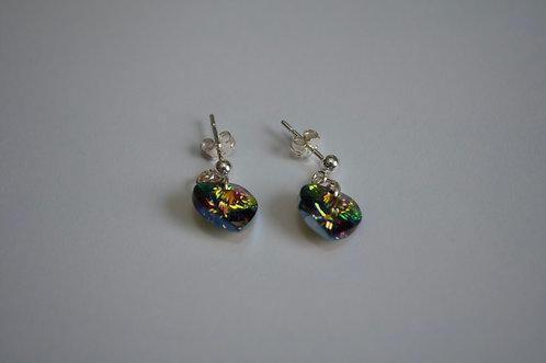 Swarovski crystal earrings | sterling silver stud | multicoloured