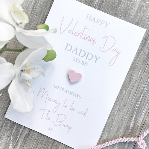 Daddy to Be Valentine Card from Mummy to Be and The Bump (Pink)