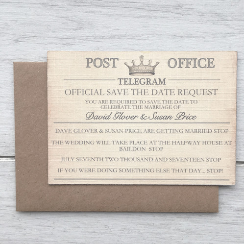 Part Of The Vintage Telegram Wedding Suite Presenting Save Date Cards