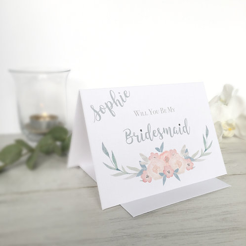 Personalised Will You Be My Bridesmaid Card - Watercolour Flowers